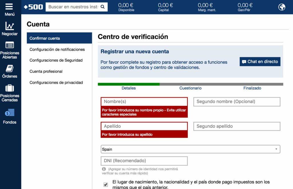 verificación cuenta Plus500